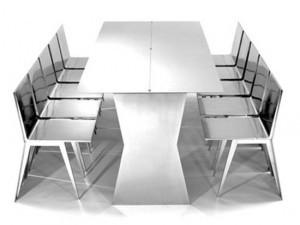 Bộ bàn ăn này được làm từ chất liệu thép