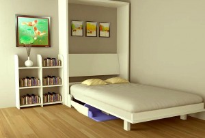 Phòng hết chật nhờ giường gấp kết hợp bàn học