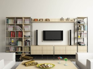 Tủ tivi kết hợp tủ giầy và giá sách.